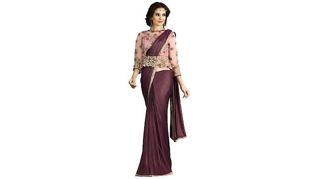 Mahotsav Embroidered Fashion Net, Raw Silk Saree  (Purple)