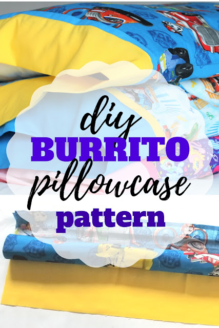 Step by step instructions and sewing pattern for making a burrito pillowcase and pattern.