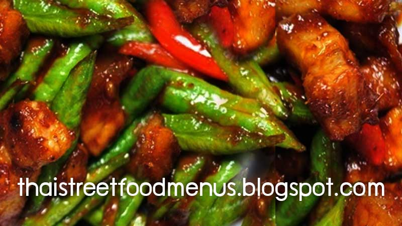 Thai pork fried with chillies ginger and string beans menupad prink how to cooking easy thai pork fried with chillies ginger and tring beans recipe forumfinder Choice Image