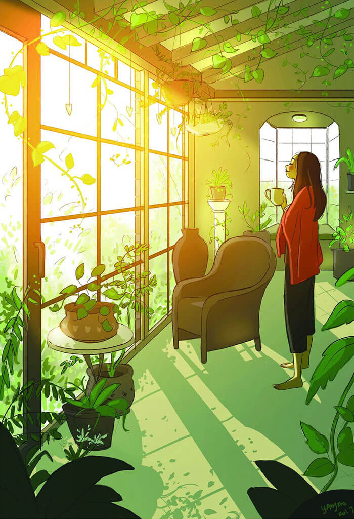 20 Beautiful Illustrations That Show What's Like To Live Alone - Enjoying A Morning To Yourself