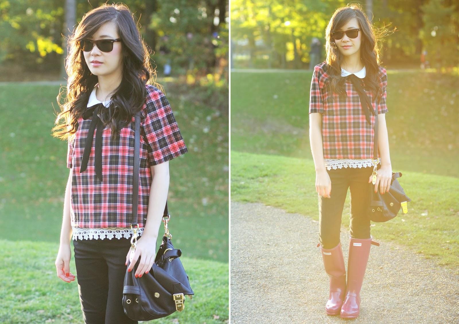 How to style tartan, fashion blogger, red tartan top