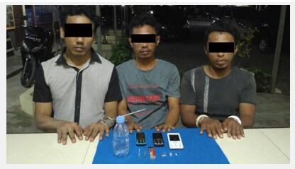 Polisi kembali mengamankan 3 Orang Pengedar Sabu di Kembang Tanjung,Pidie