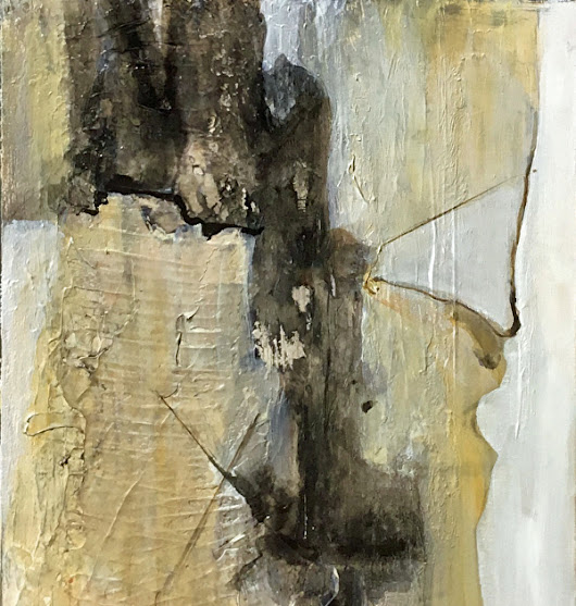 "Contemporary Abstract Mixed Media Painting ""Abstract 1"" by California Artist Cecelia Catherine Rappaport"