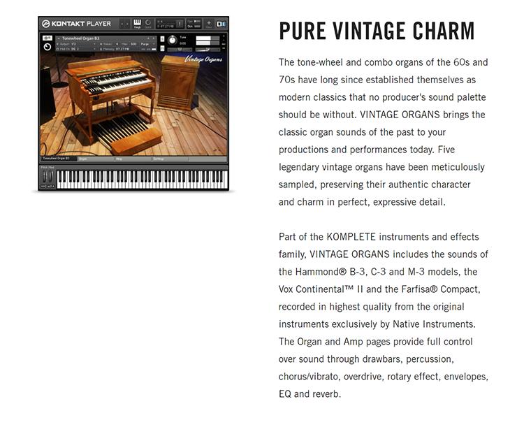 NATIVE INSTRUMENTS - Vintage Organs [KONTAKT LIBRARY] [1 4