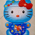 Balon Foil Character Hello Kitty Biru