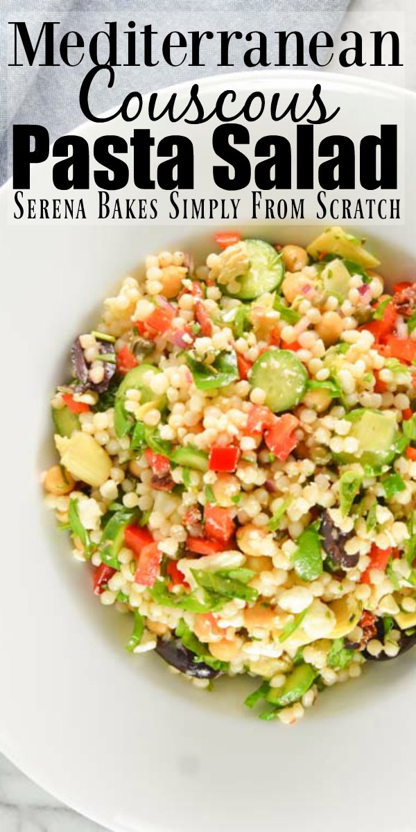 Mediterranean Couscous Pasta Salad is an easy healthy salad using Israeli Couscous perfect for picnics and potlucks from Serena Bakes Simply From Scratch.