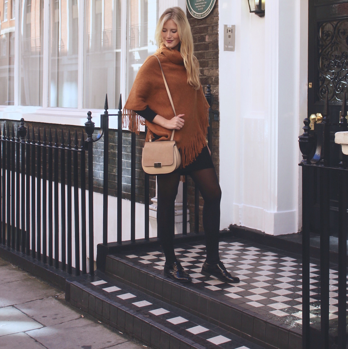 London Streetstyle Mustard Poncho Autumn Fashion www.theblondelion.com