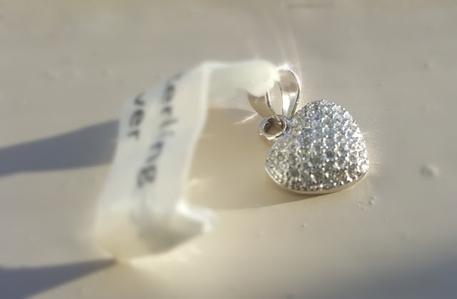 Sterling Silver Heart Pendant, Jewel Candle