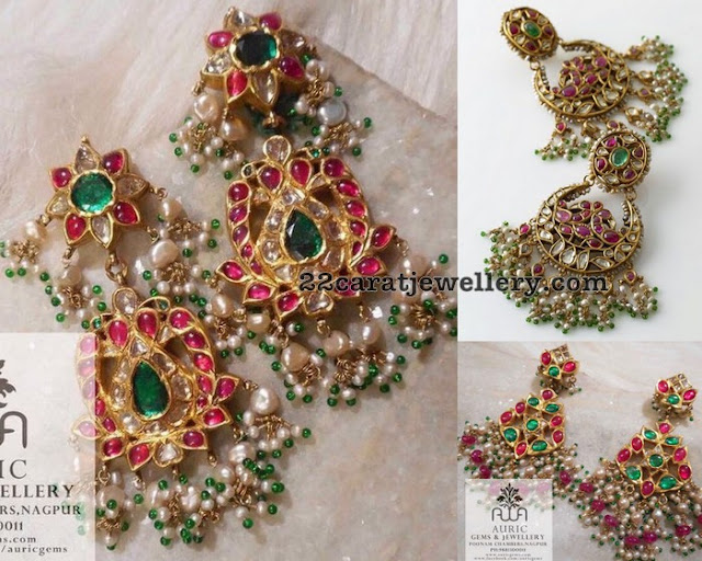 Kundan Earrings with Beads Bunches