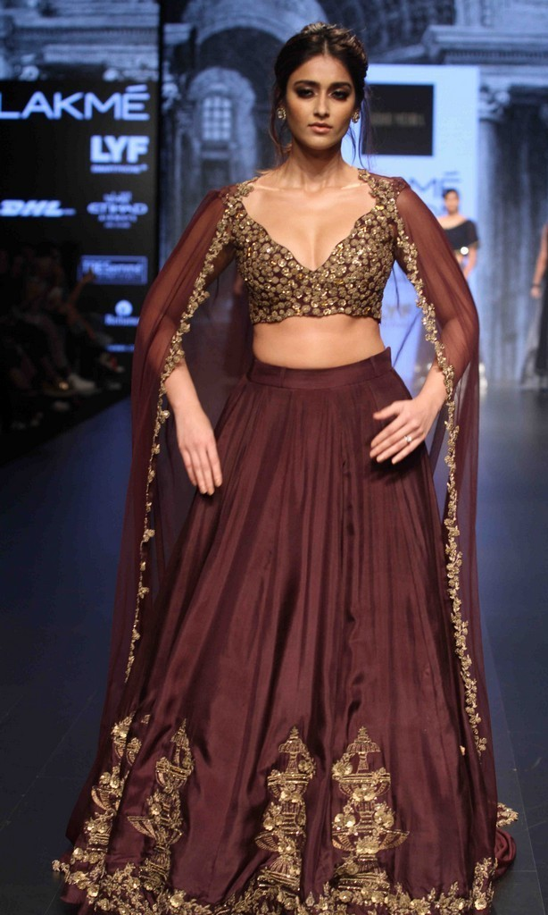Ileana at LFW Winter Festive Ramp Walk Photos In Maroon Lehenga Choli