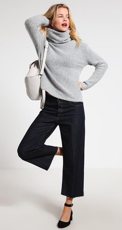 Pullover col roulé femme gris chiné Sparkz