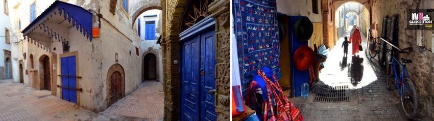 Essaouira. Stradine strette, muri scrostati, porte e finestre blu, è facile perdersi nella medina.