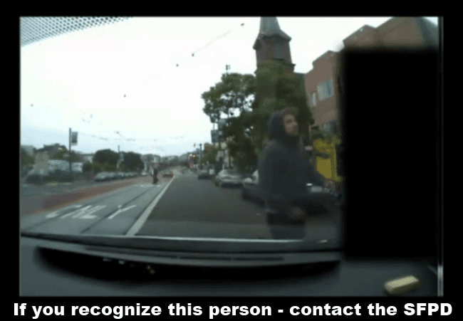 A picture of the person of interest, a second angle, from the dashcam video that the SFPD would like to speak with.