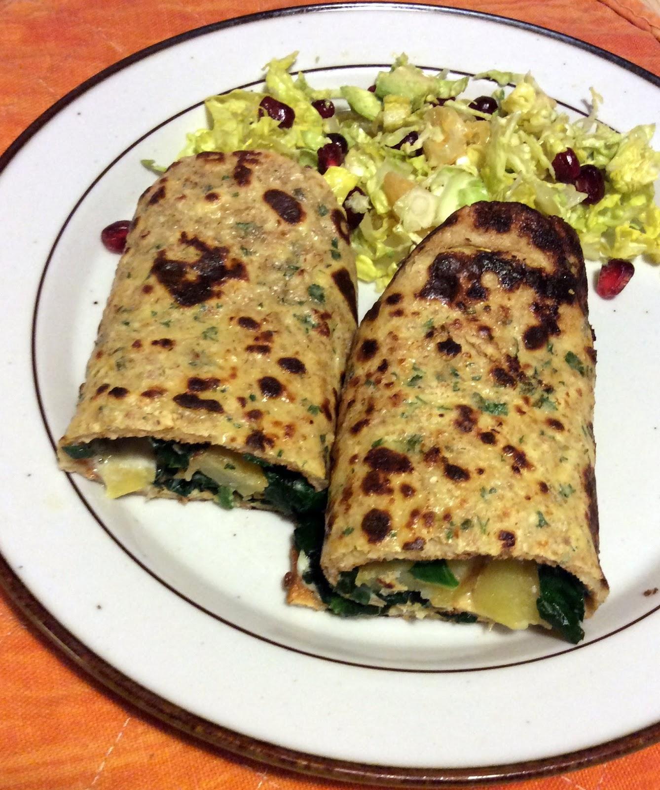Anne Naturglad: Pandekager med fyld af kartofler, spinat og gorgonzola