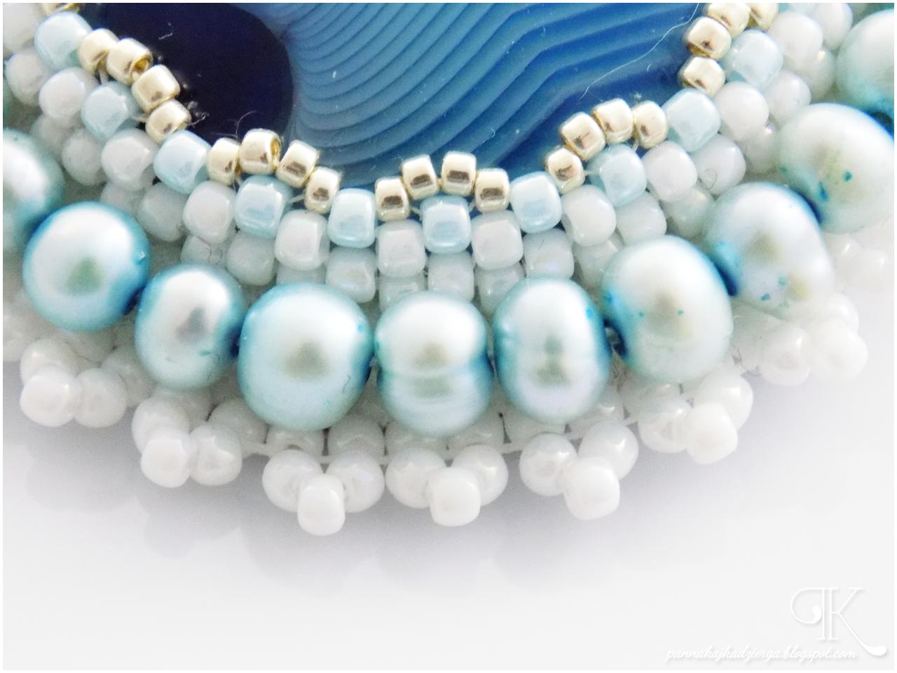 agat, agate, broszka, rękodzieło, handmade, niebieski, blue, perły, biżuteria, jewellery