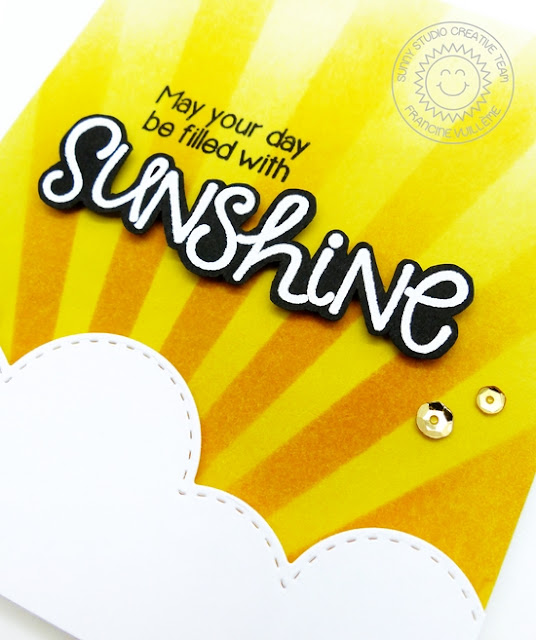 Sunny Studio: May Your Day Be Filled With Sunshine Card by Francine Vuillème (using Sunny Sentiments stamp set)