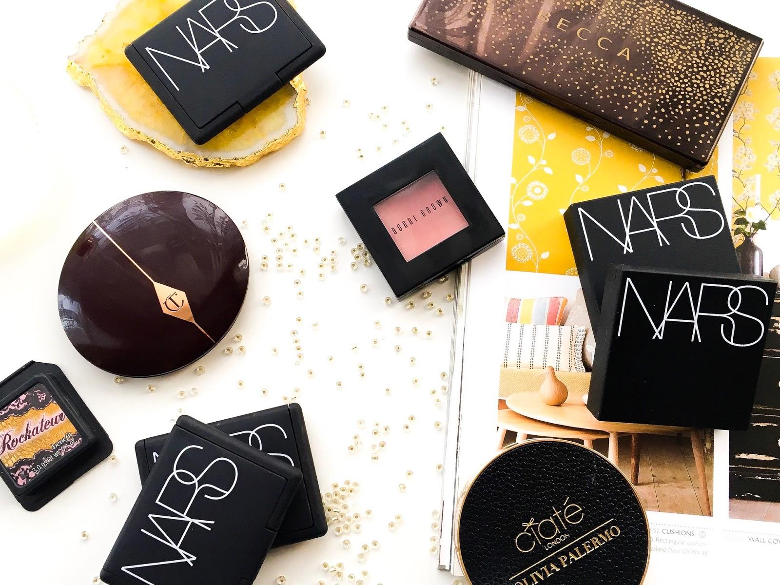 makeup collection series blusher, high end blushers, nars dual intensity blusher, nars blusher, charlotte tilbury cheek to chic blusher, bobbi brown blusher
