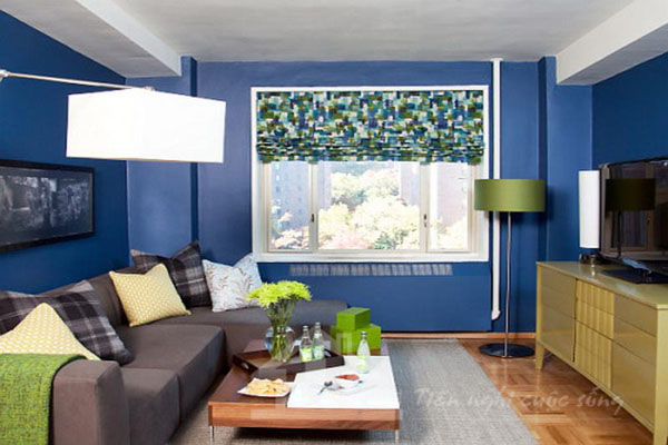 Kết quả hình ảnh cho sử dụng màu xanh cho nội thất phòng khách