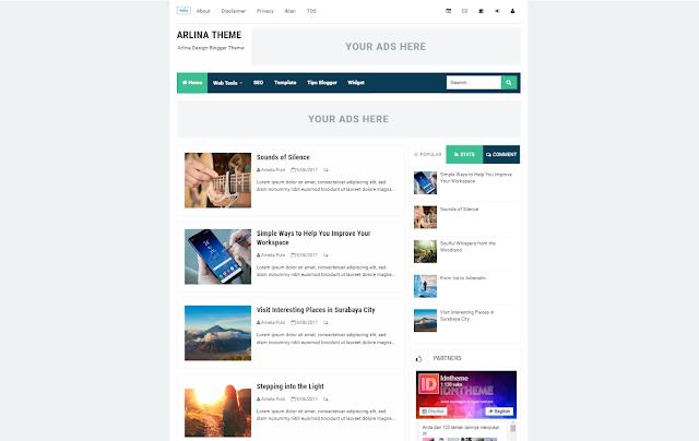 Arlina Theme Responsive Blogger Template