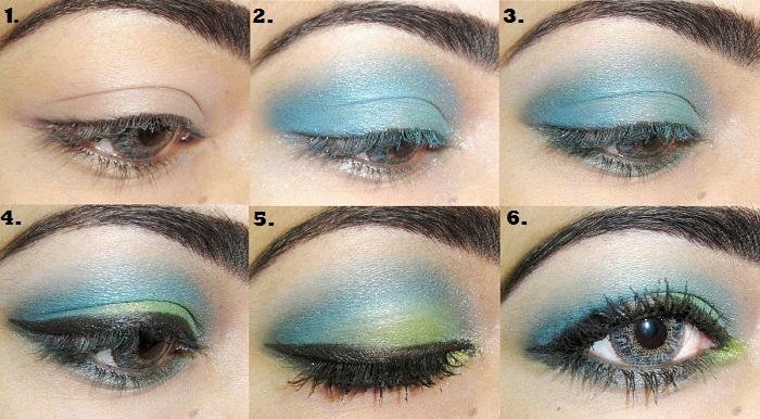 Blue eye makeup tutorial steps