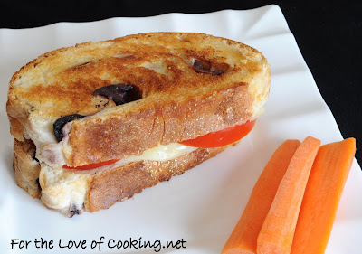 Grilled Havarti and Tomato on Kalamata Olive Bread