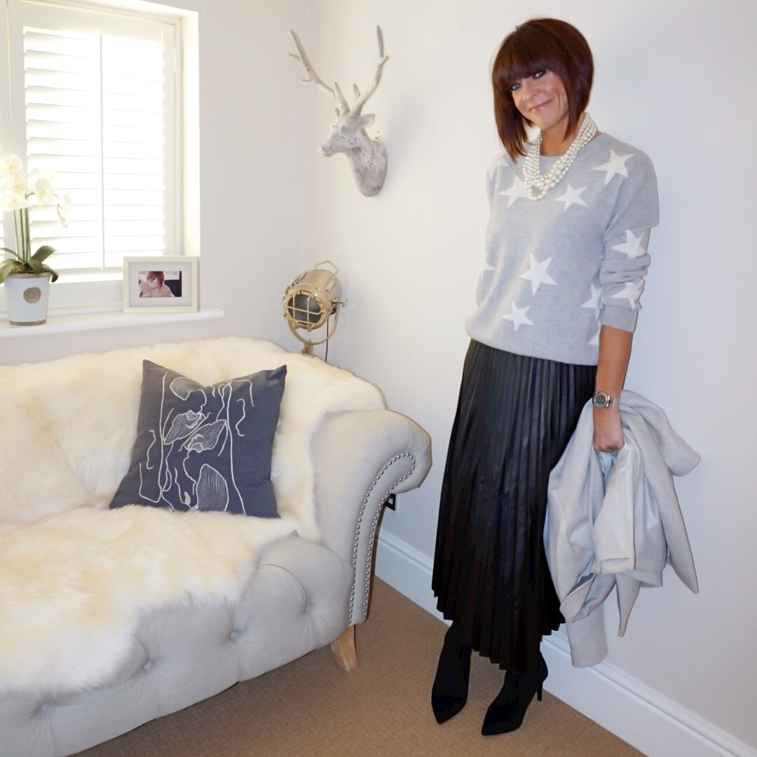 my midlife fashion, marks and spencer pure cashmere star jumper, j crew pearl twisted hammock necklace, marks and spencer pleated midi skirt, marks and spencer stiletto heel side zip ankle boots