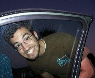 Zach silly in car