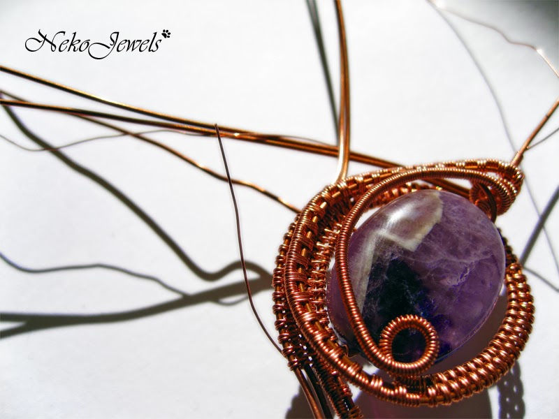 Weaving Wire pendant with amethyst and handmade copper chain ...