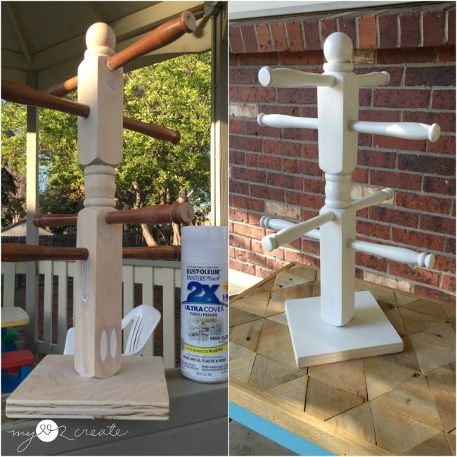 spray painting water bottle holder white