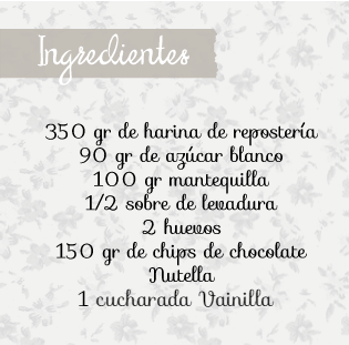 Ingredientes receta cookies nutella
