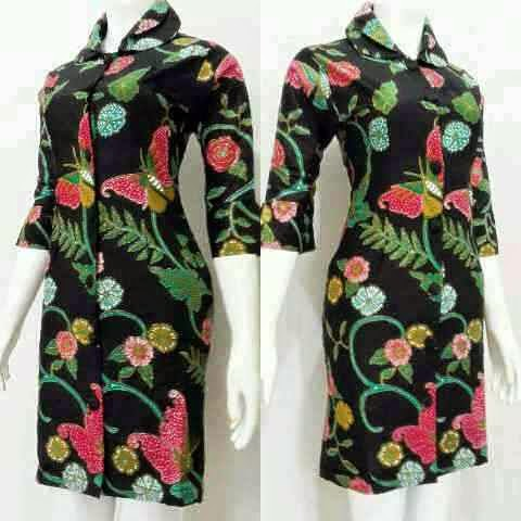 Model Terbaru Baju Mini Dress Batik Modern
