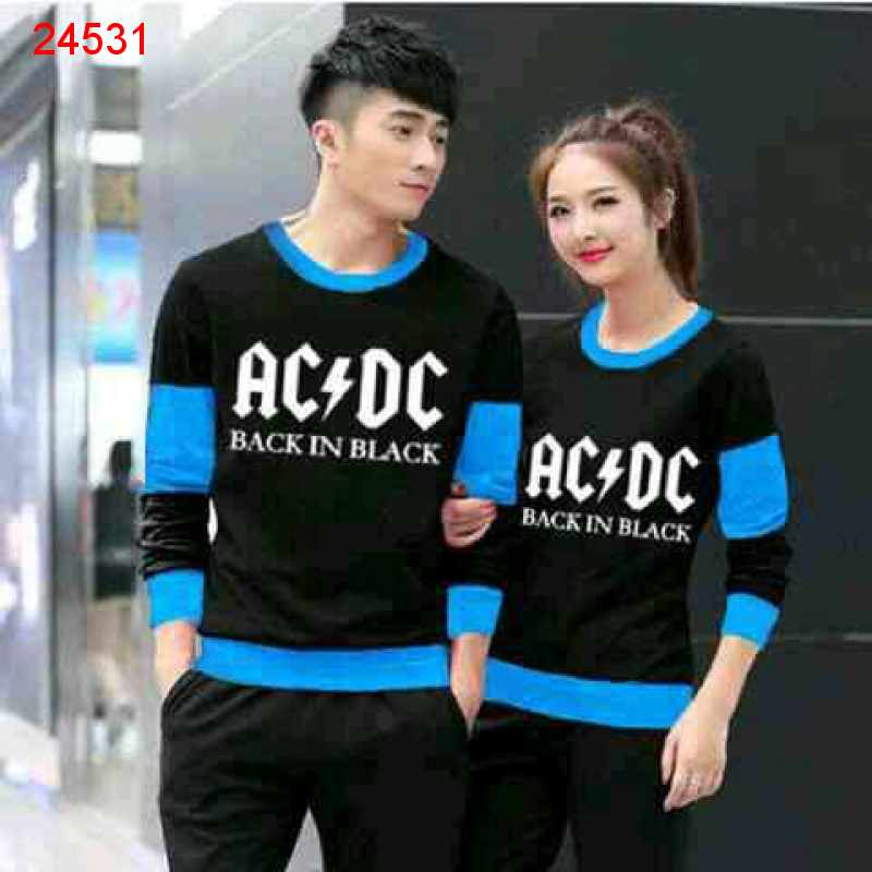 Jual Sweater Couple Sweater ACDC Black Turquise - 24531
