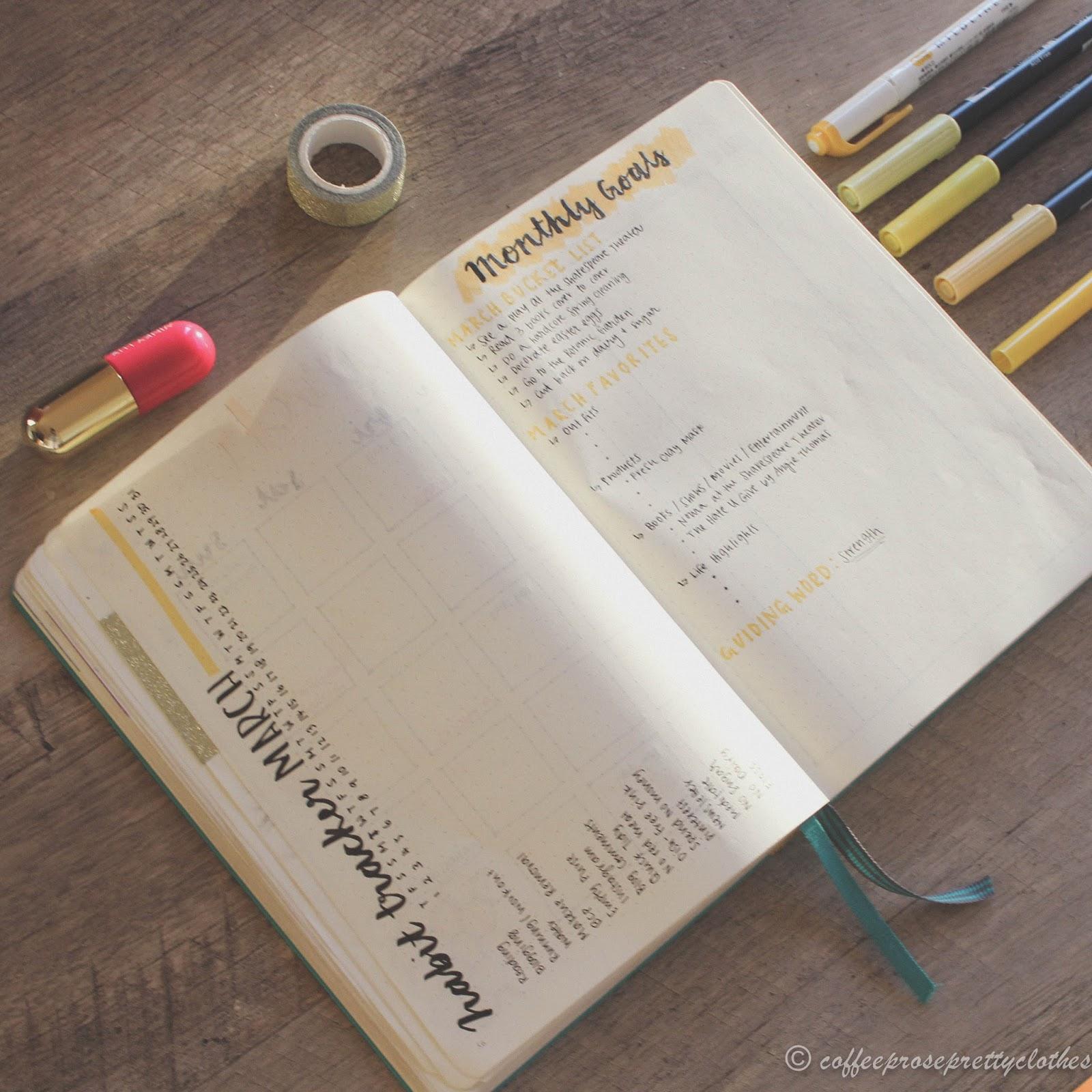 March Bullet Journal Habit tracker