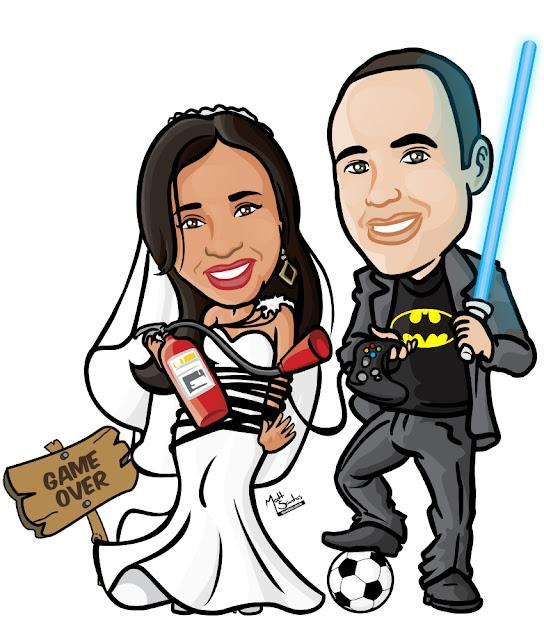 Caricatura de Casamento Nerd Star Wars