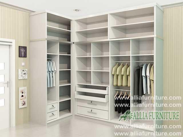 lemari baju sudut minimalis navy