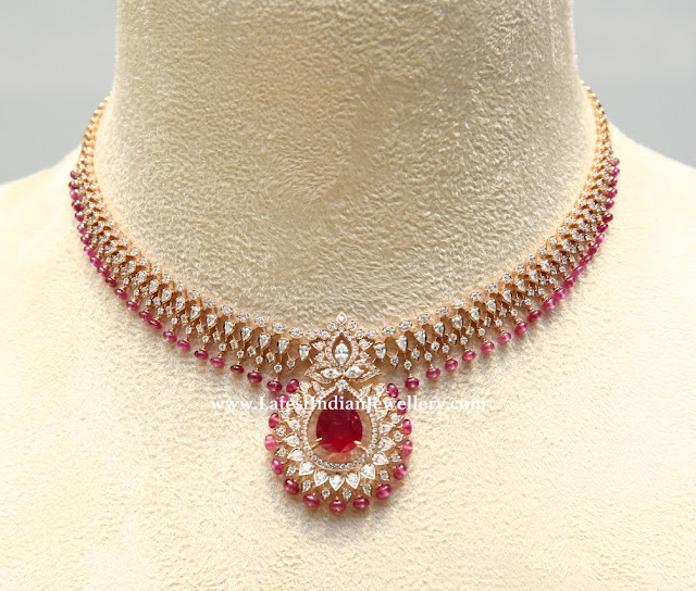 Tiny Ruby Drops Diamond Necklace