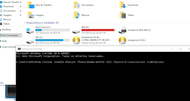 Como habilitar o .NET Framework 3.5 no windows 10 sem ter internet