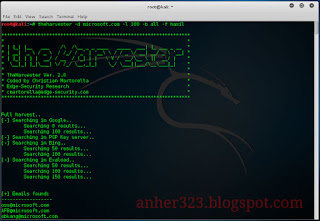 theharvester -d microsoft.com -l 100 -b google