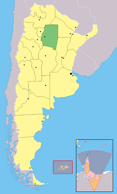Mapa de localização da província de Santiago Del Estero - Argentina