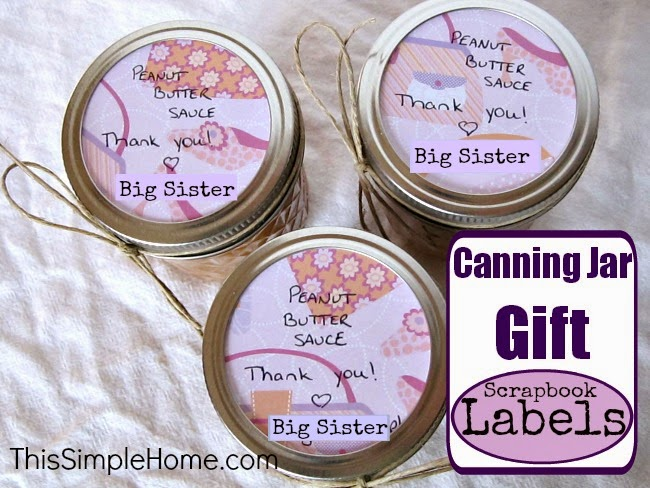 Decorate canning jars with scrapbook paper when giving as gifts.