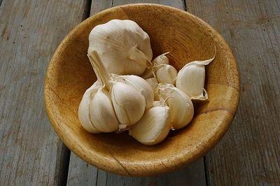 Hierbas aromáticas. Cuenco con dos cabezas y varios dientes de ajo.