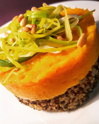 steak végétarien quinoa purée potimarron poireaux