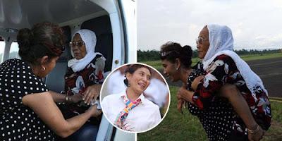 Susi Hebohkan Netizen Dengan Mengendong Orangtua Naik Pesawat Barunya