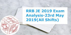 RRB JE 2019 Exam Analysis, Questions Asked & Cut Off Expected: 23rd May 2019(All Shifts)