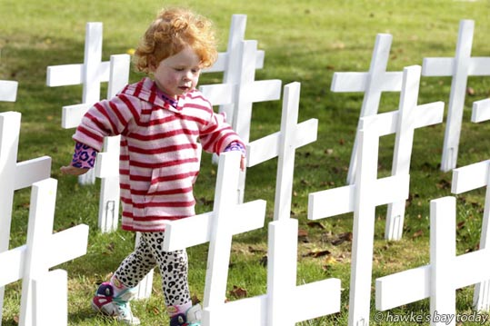 ella Potter, 2, Taradale - Taradale locals and visitors, young and old alike, commemorated Anzac Day at the Taradale Memorial Clock Tower, Taradale, Napier. photograph