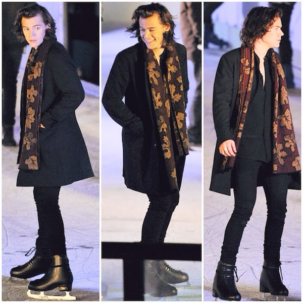 742f7c5b199 Harry Styles wears Burberry Prorsum Fall Winter 2014 leaves print scarf for  music video shoot at