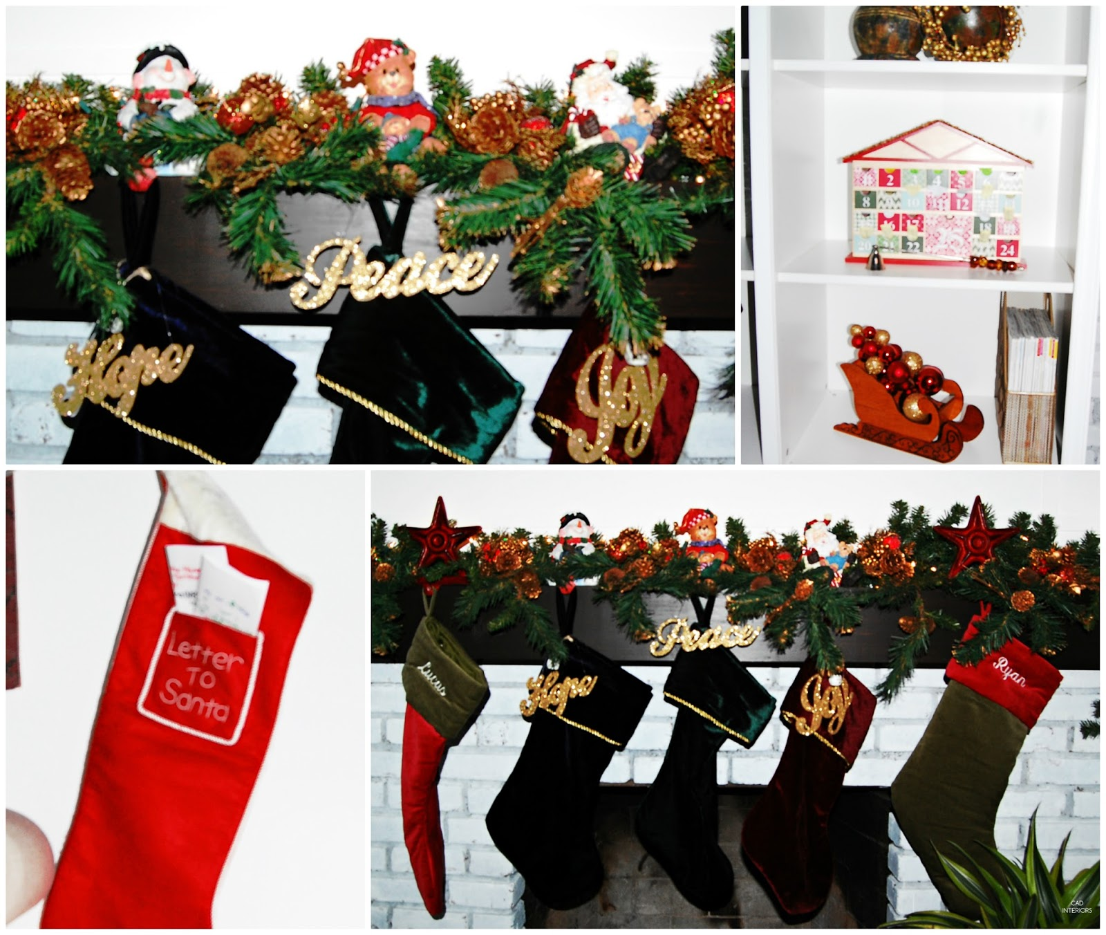 CAD INTERIORS holiday family room stockings stocking holders Santa stocking traditional classic Christmas decorations