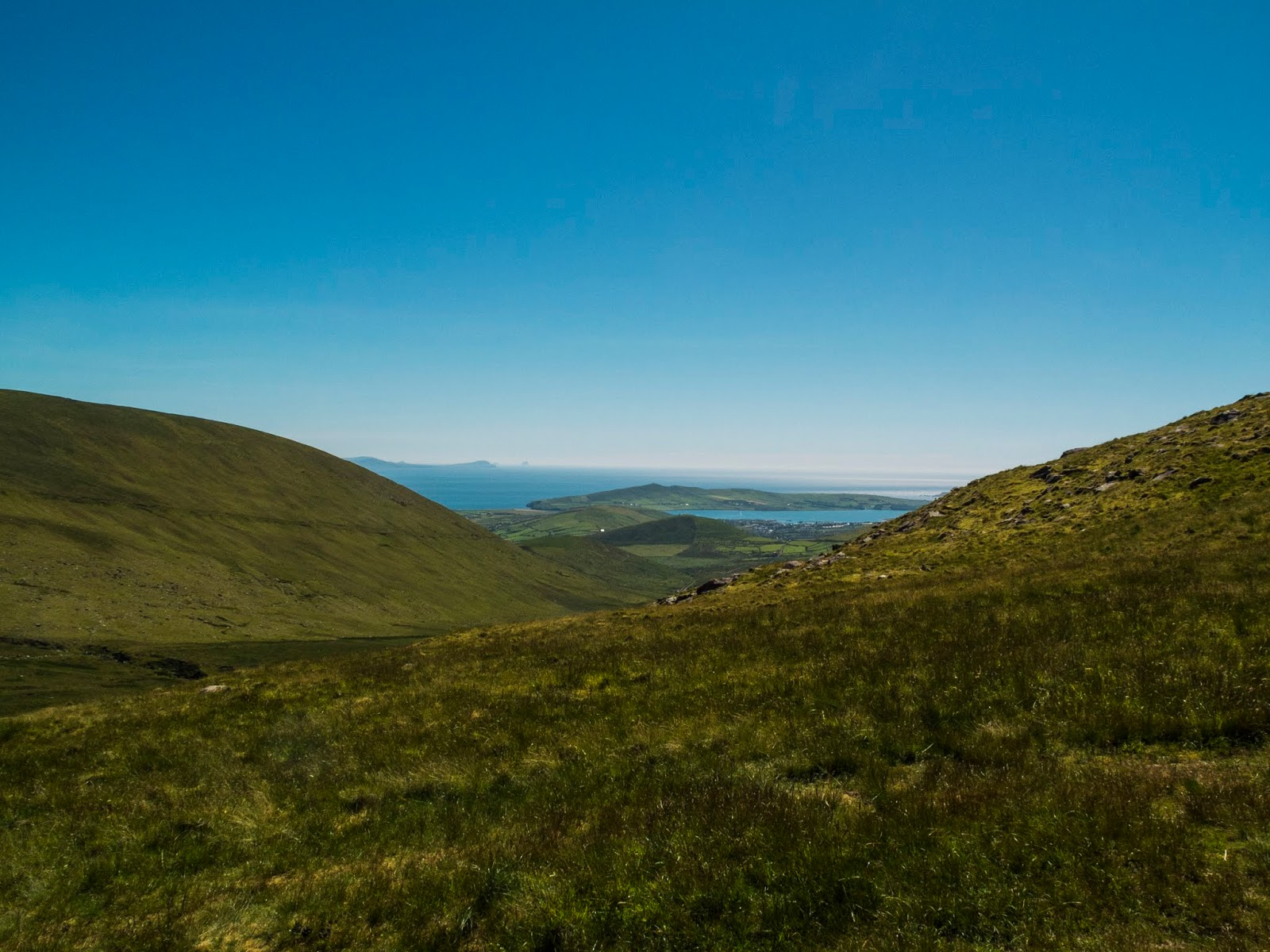 View from Conor Pass looking towards the Iveragh Peninsula and Skellig Islands.