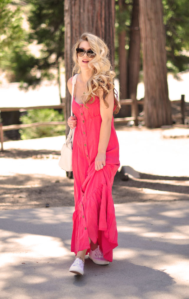 Free People coral maxi dress with open back, Superga sneakers, Alexander Wang Bag