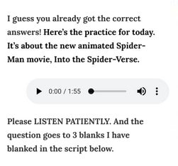 Soal listening pada aplikasi U-Dictionary